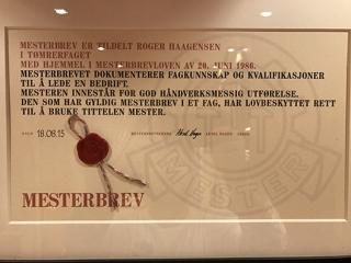 Mesterbrev Roger Haagensen